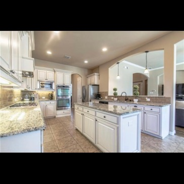 Kitchen with granite and custom cabinetry